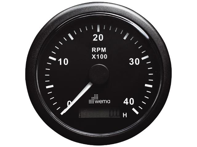 Wema Drehzahlmesser und Betriebsstundenzähler bis 4000U/min schwarz