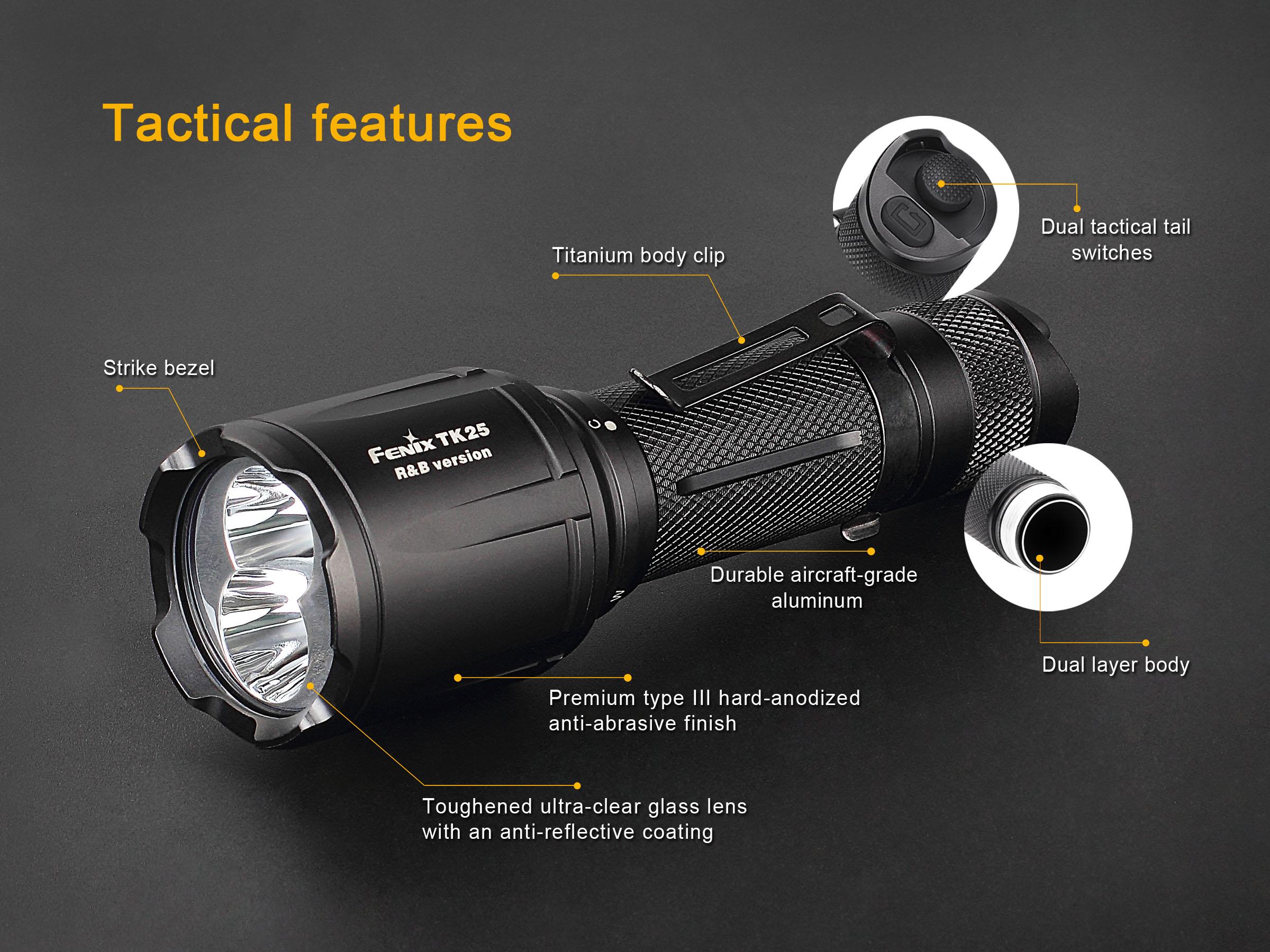 Fenix TK25R&B rote und blaue LED Taschenlampe