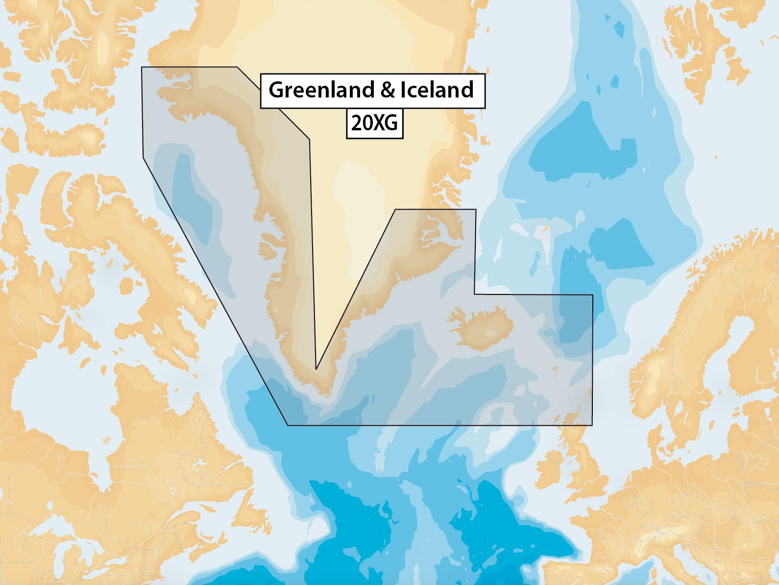 Navionics + Plus Preloaded Seekartenmodul mSD/SD Karte 20XG Grönland und Island