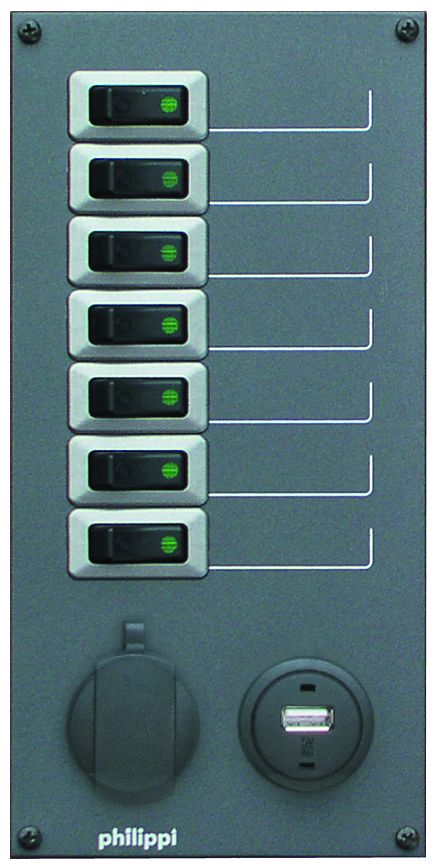 Philippi STV 207 für 7 Stromkreise mit 12V Steckdose und USB 5V Ausgang