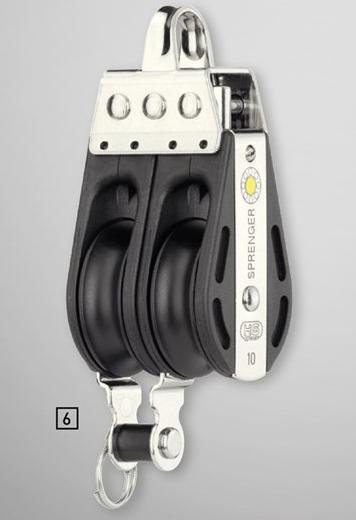 Sprenger 10mm S-Block Gleitlager 2 Rollen mit Bügel und Hundsfott