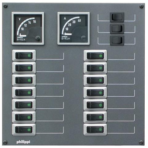 Philippi STV 214 für 14 Stromkreise mit Volt- und Amperemeter
