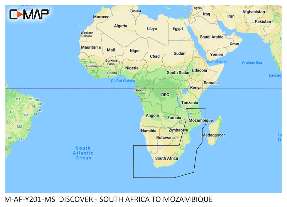 C-MAP DISCOVER:  M-AF-Y201-MS  South Africa to Mozambique
