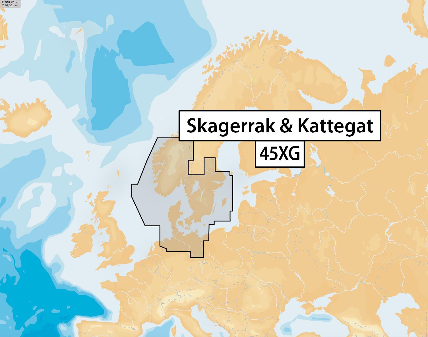 Navionics + Plus Preloaded Seekartenmodul mSD/SD Karte 45XG Skagerrak und Kattegat