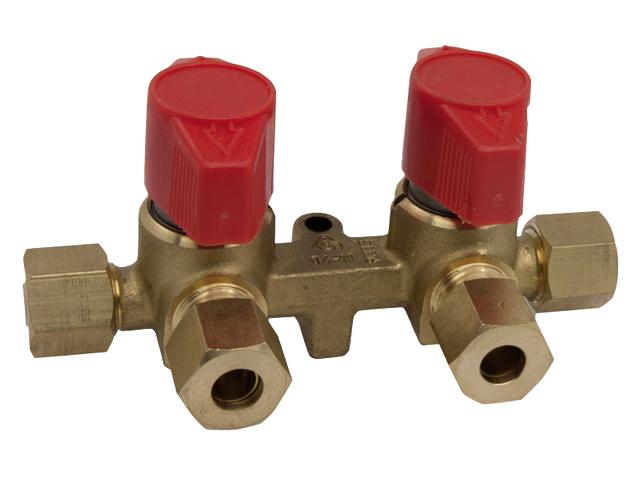 Talamex Gas Installation Verteilerblock mit 2 Ausgängen