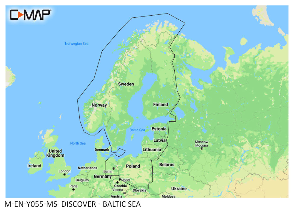 C-MAP DISCOVER:  M-EN-Y055-MS  Baltic Sea