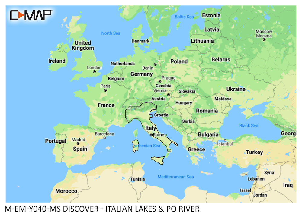 C-MAP DISCOVER:  M-EM-Y040-MS   Italian Lakes & Po River