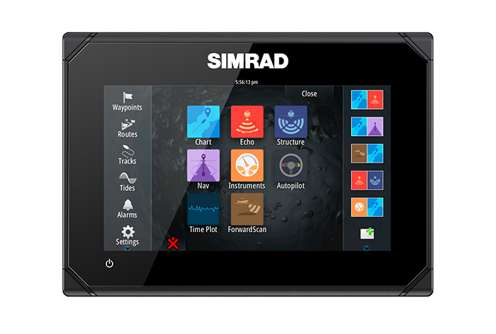Simrad Go7 XSE Multifunktionsdisplay aus Radar Set