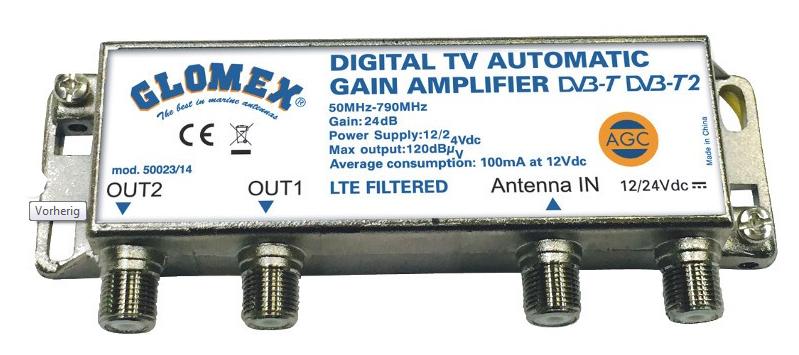 Glomex V9125 AGCU DVBT2 Antenne TV und RadioGlomex V9125 AGCU/DAB DVBT2 Antenne TV und Radio DAB