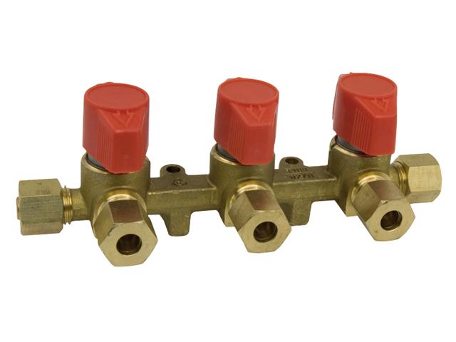 Talamex Gas Installation Verteilerblock mit 3 Ausgängen