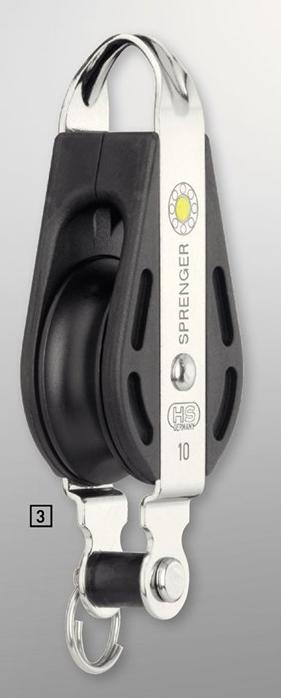 Sprenger 10mm S-Block Gleitlager 1 Rolle mit durchgehendem Bügel und Hundsfott