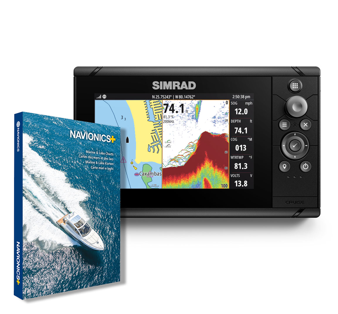 Simrad Cruise 7 GPS Kartenplotter Echolot mit Navionics Seekarte