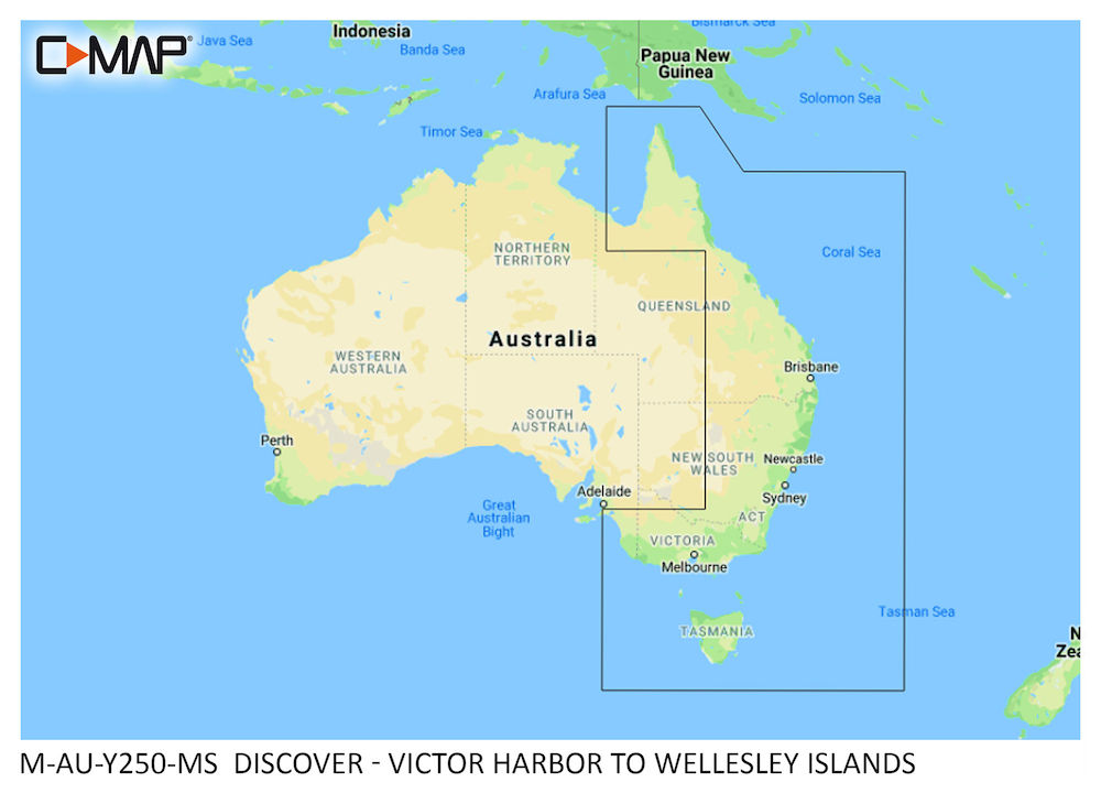 C-MAP DISCOVER:  M-AU-Y250-MS  Victor Harbor to Wellesley Islands