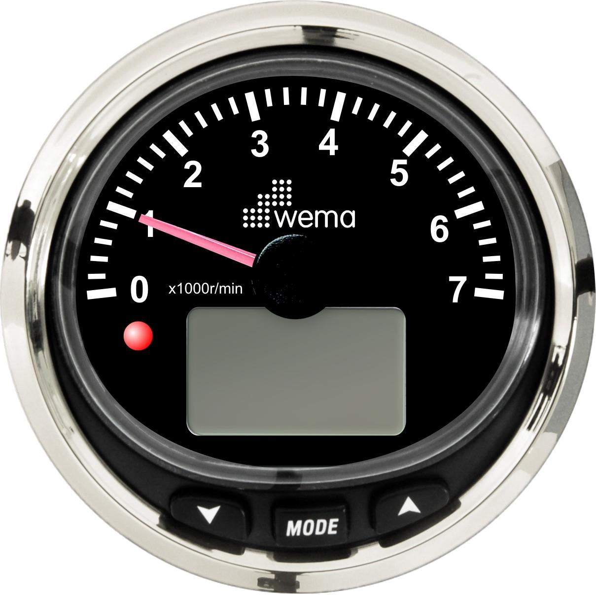 Wema NMEA2000 Drehzahlmesser -7000U/min Silver-Line schwarz