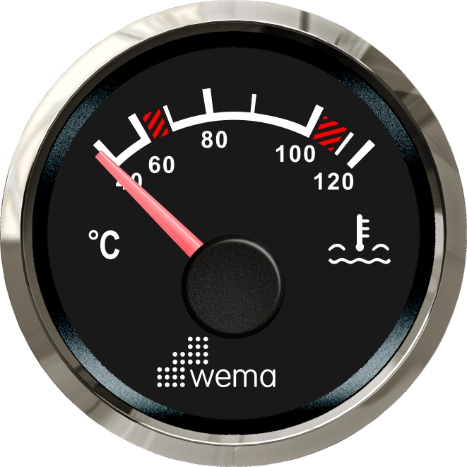 Wema NMEA2000 Tankanzeige Wassertemperatur Silver-Line schwarz