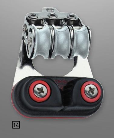 Sprenger 4mm Kugellager Micro XS Drahtblock dreifach mit Schotklemme und Bügel