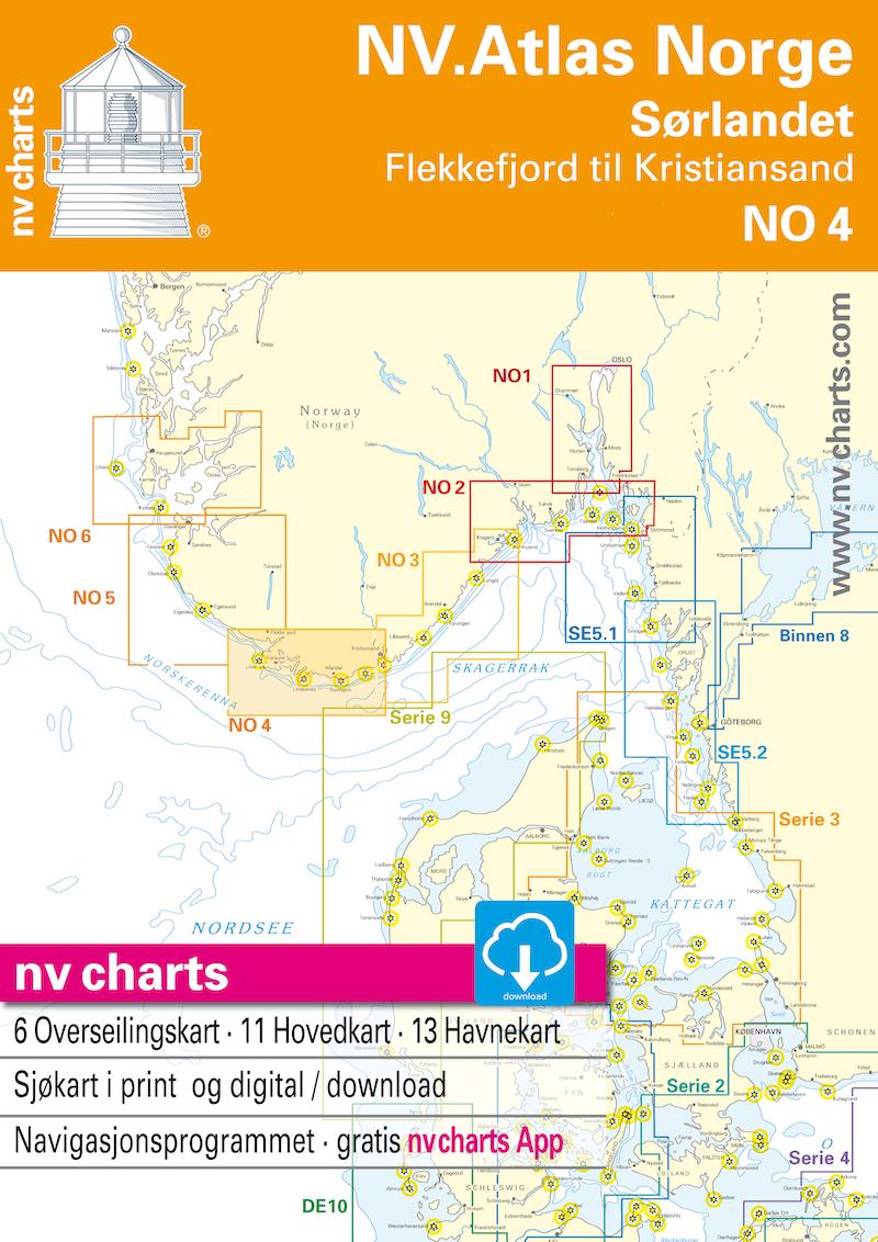 NV NO 4 NV.Atlas Norge Sørlandet Vest - Flekkefjord til Kristiansand