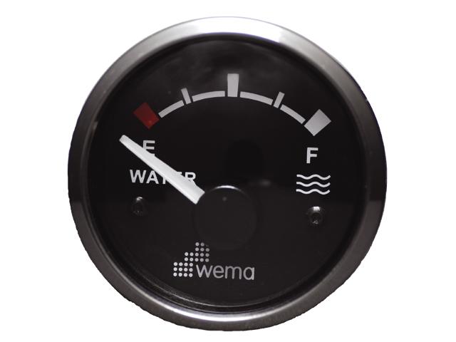WEMA Anzeige Edelstahlring Wasser schwarz
