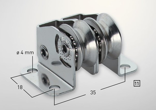 Sprenger 4mm Kugellager Micro XS Stehblock für Draht doppelt