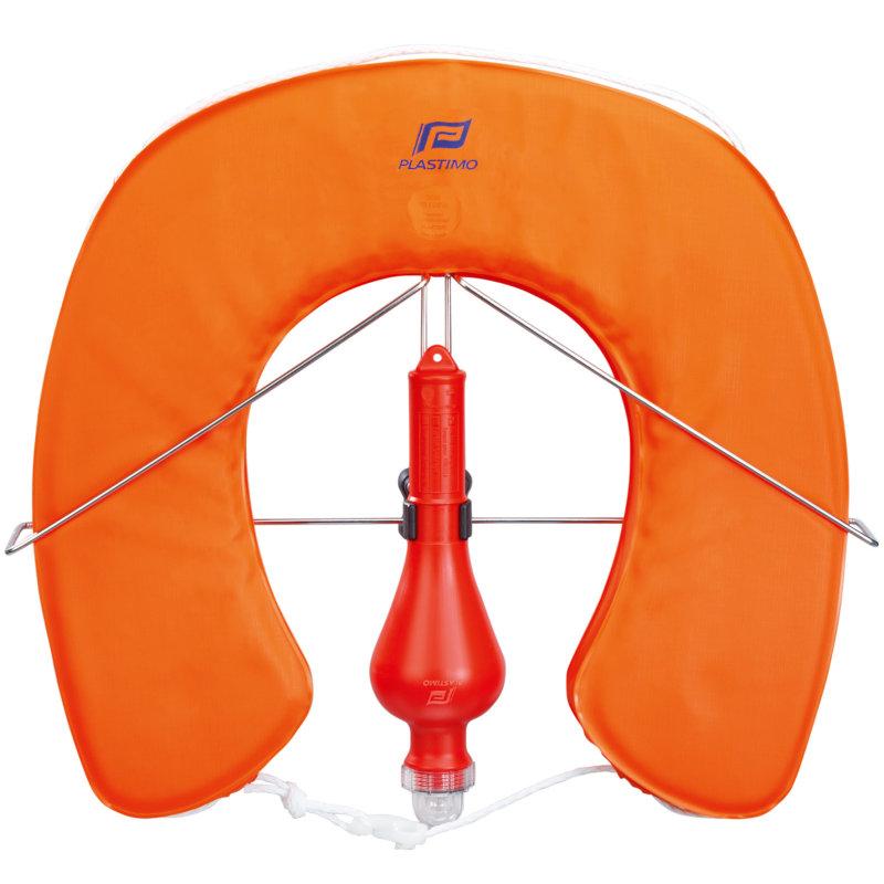Plastimo Hufeisen Rettungsring MOB System im Set (Halter und Festlicht) 10026 Orange
