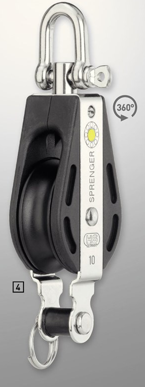 Sprenger 10mm S-Block Gleitlager 1 Rolle mit Wirbel und Hundsfott