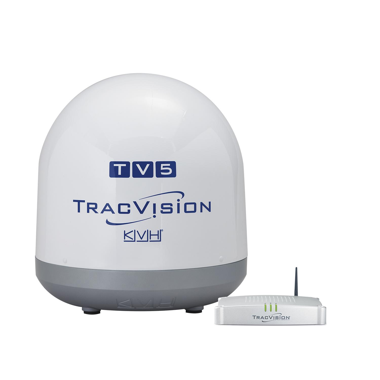KVH TracVision TV5 mit IP-TV-Hub B & autom. Skew-Einstellungen