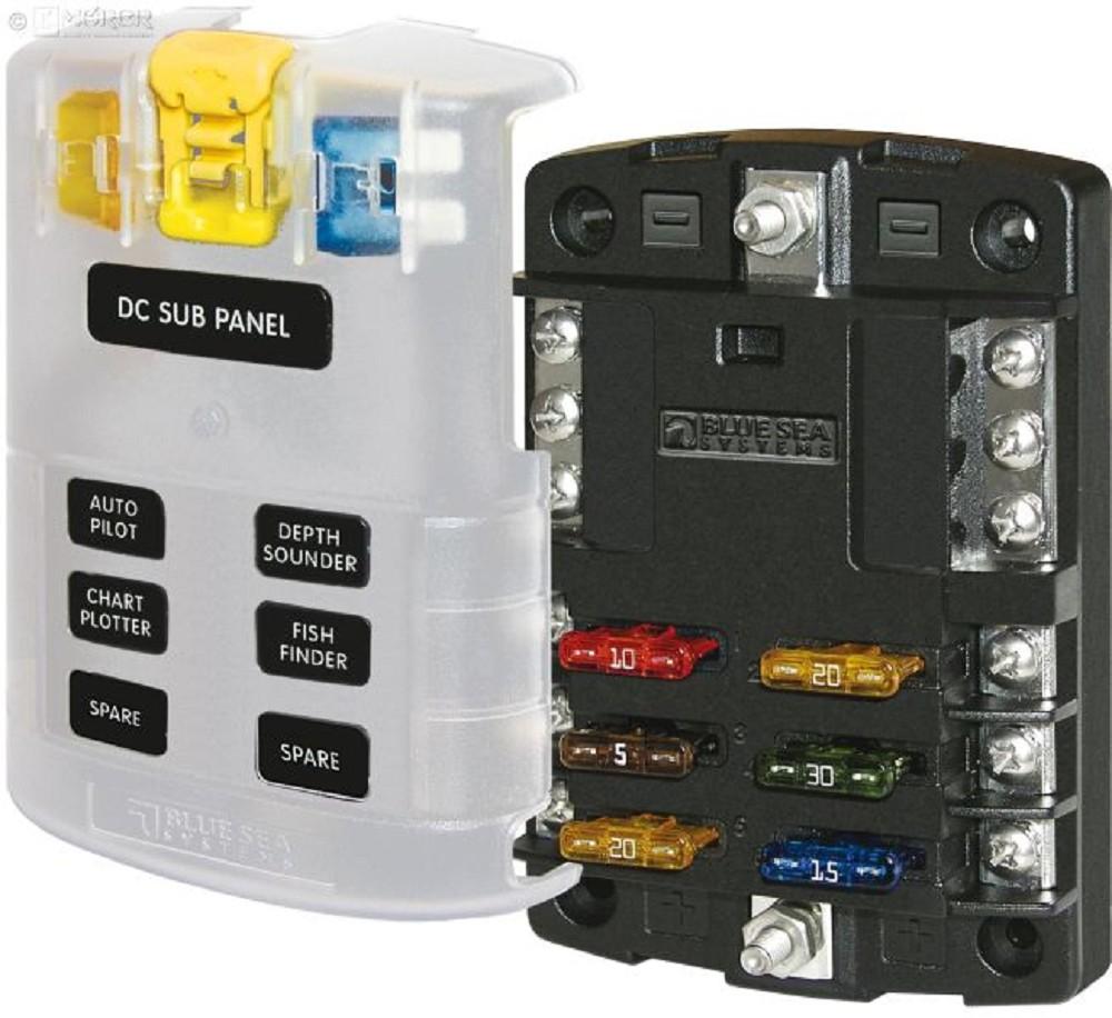 BlueSea Sicherungskasten - 6 Stromkreise und Masse