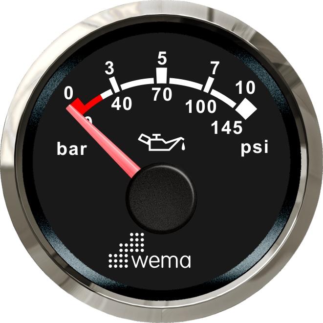 Wema NMEA2000 Tankanzeige Öldruck Silver-Line schwarz