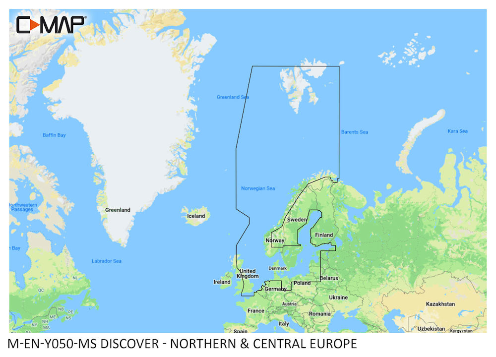 C-MAP DISCOVER:  M-EN-Y050-MS  Northern & Central Europe