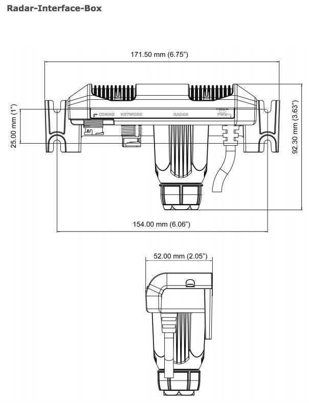Navico Radar Interface Box RI10 für B&G, Lowrance und Simrad 3G und 4G Broadband Abmessungen