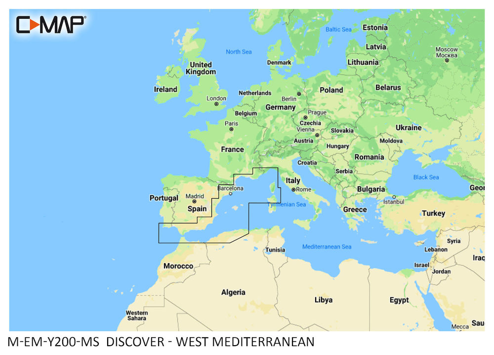 C-MAP DISCOVER:  M-EM-Y200-MS   West Mediterranean