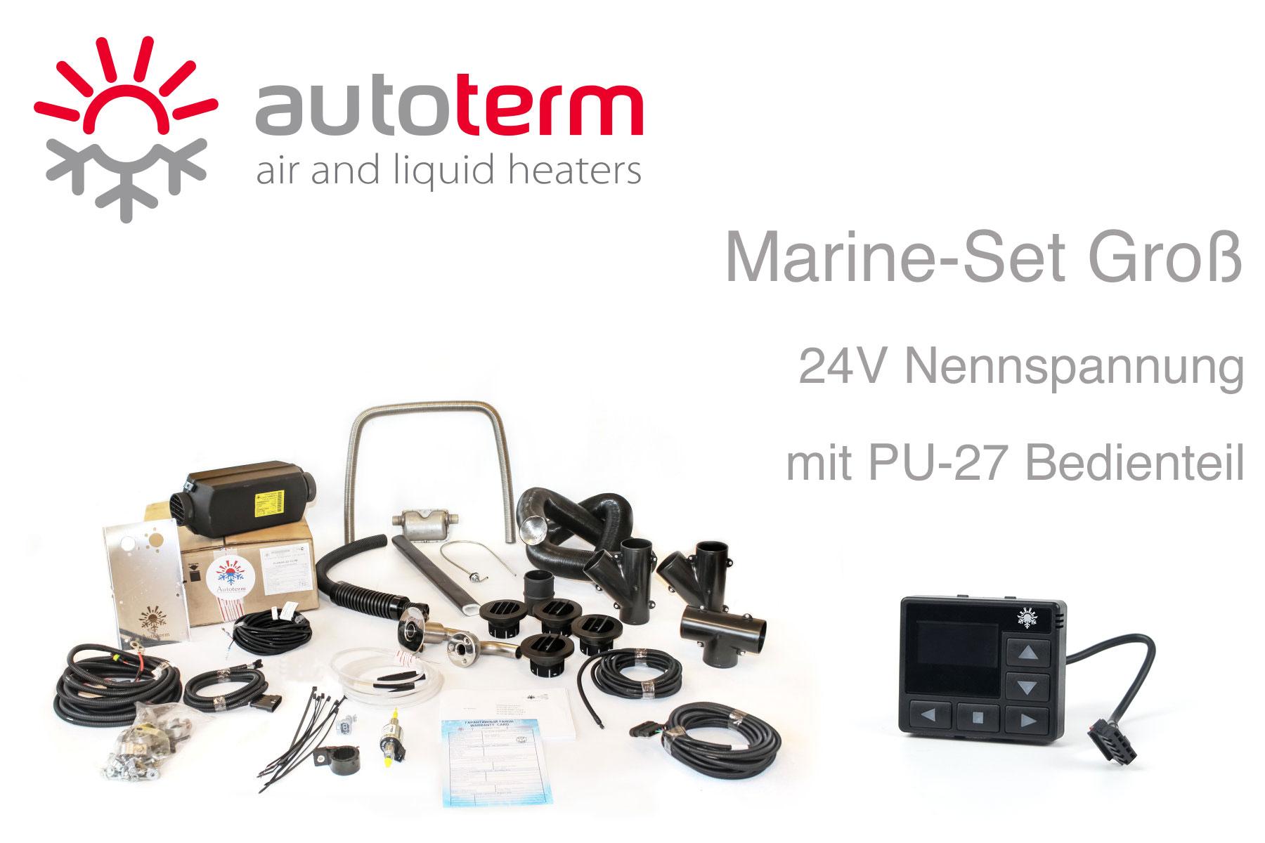 Autoterm Air 2D Diesel Warmluftheizung Marine Set Groß, 24V, PU-27 Bedienteil