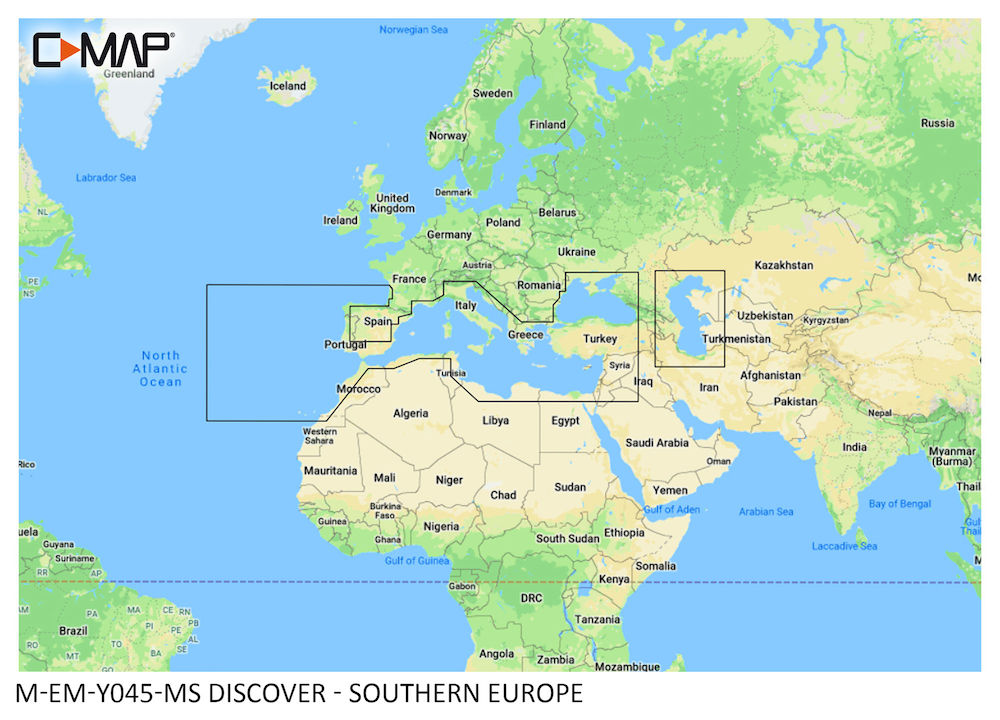 C-MAP DISCOVER:  M-EM-Y045-MS   Southern Europe