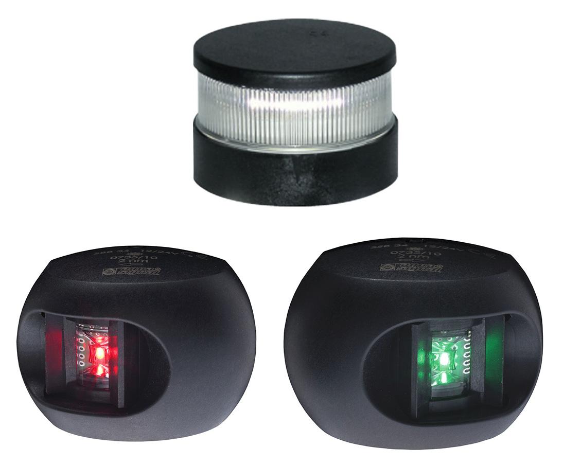 AquaSignal AS34 Positionslaternen LED Set (Top, BB, STB) schwarz