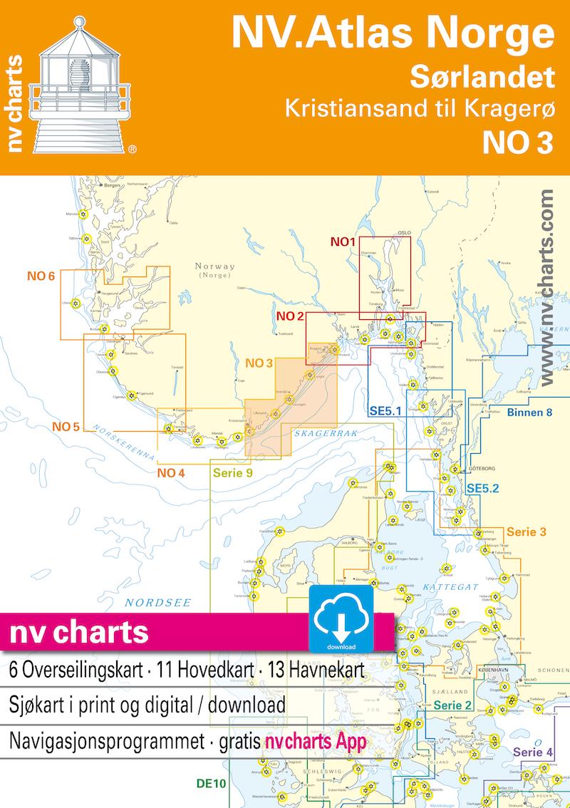 NV NO 3 NV.Atlas Norge Sørlandet Øst - Kristiansand til Kragerø