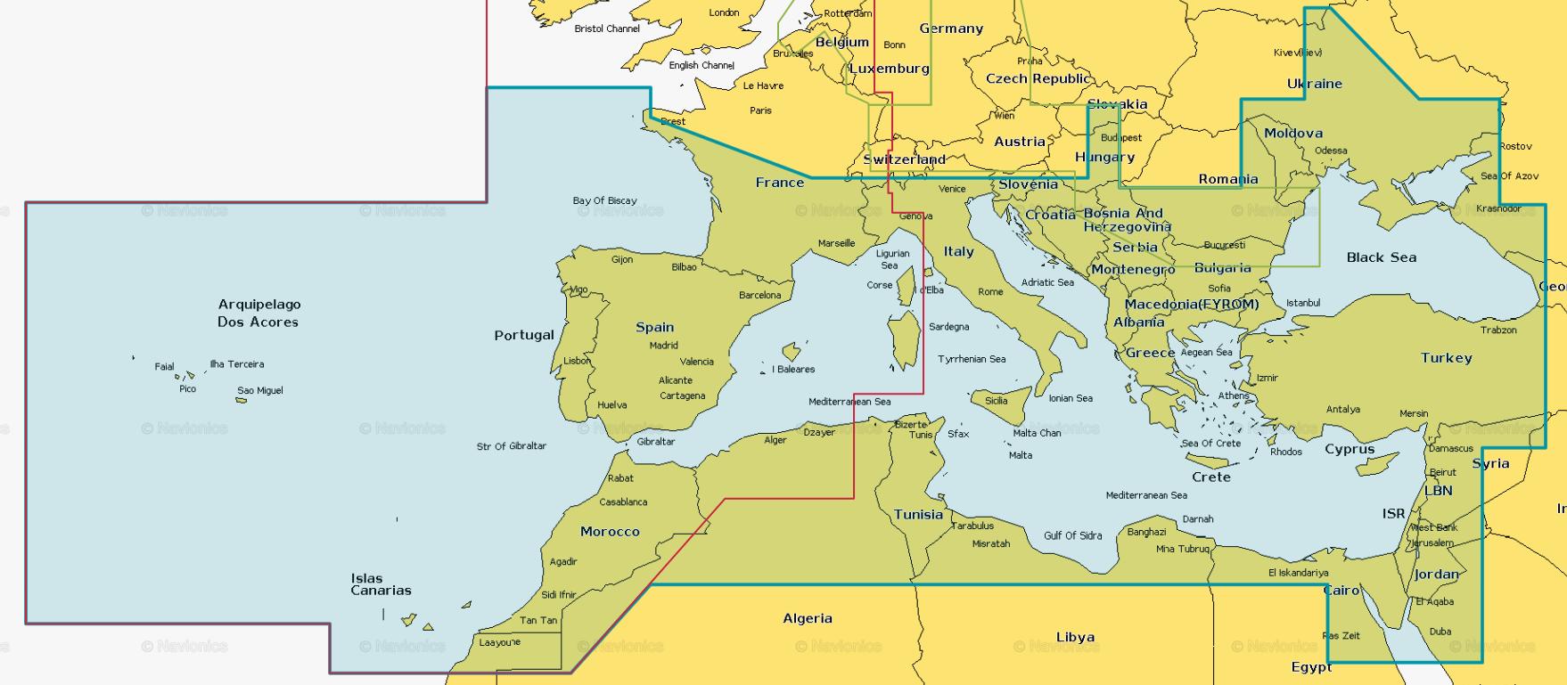 BlueChart g3 Vision Seekarte Southern Europe VEU723L