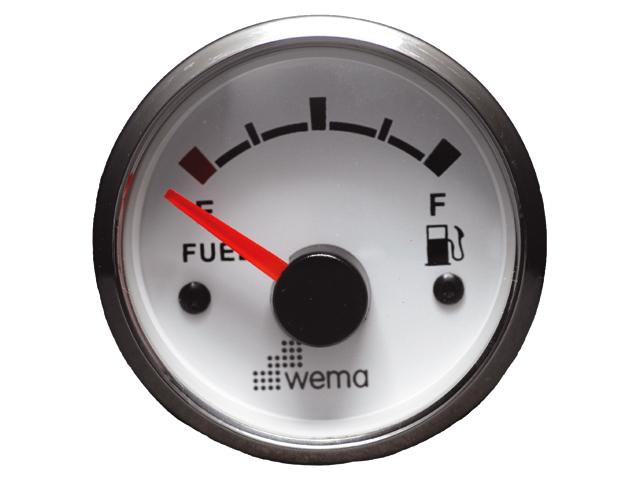 WEMA Anzeige Edelstahlring Treibstoff weiß
