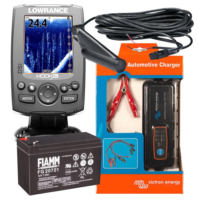 Lowrance Hook-3x DSI Action Pack Fishfinder Echolot mit Akku und Ladegerät