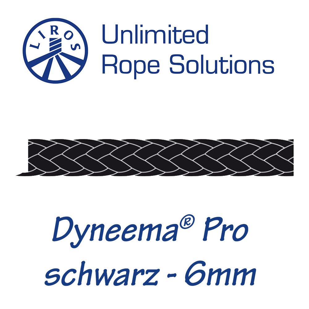Liros Dyneema Pro Farbe schwarz Meterware 6mm