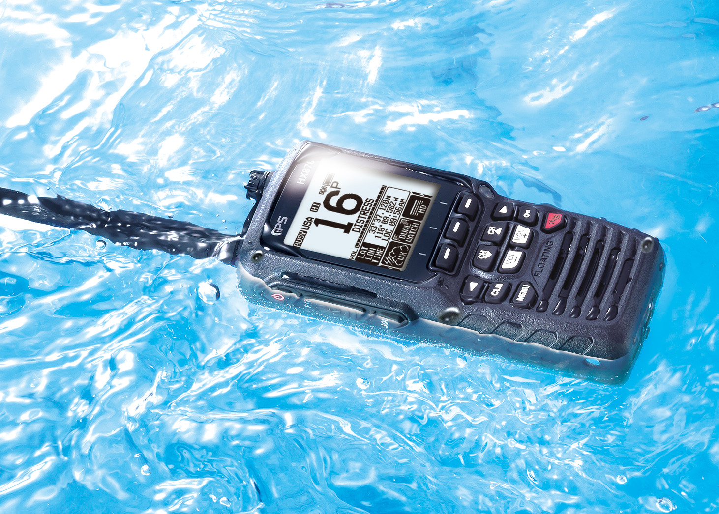 Standard Horizon HX870E Handfunkgerät mit integriertem GPS schwimmend
