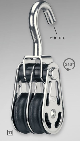 Sprenger 6mm Gleitlagerblock doppelt mit Haken, wirbelnd