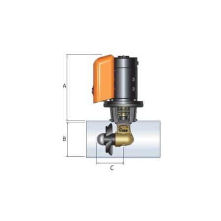 Quick BTQ Bugstrahlruder Set 125-40 (39 kgf) Abmessungen